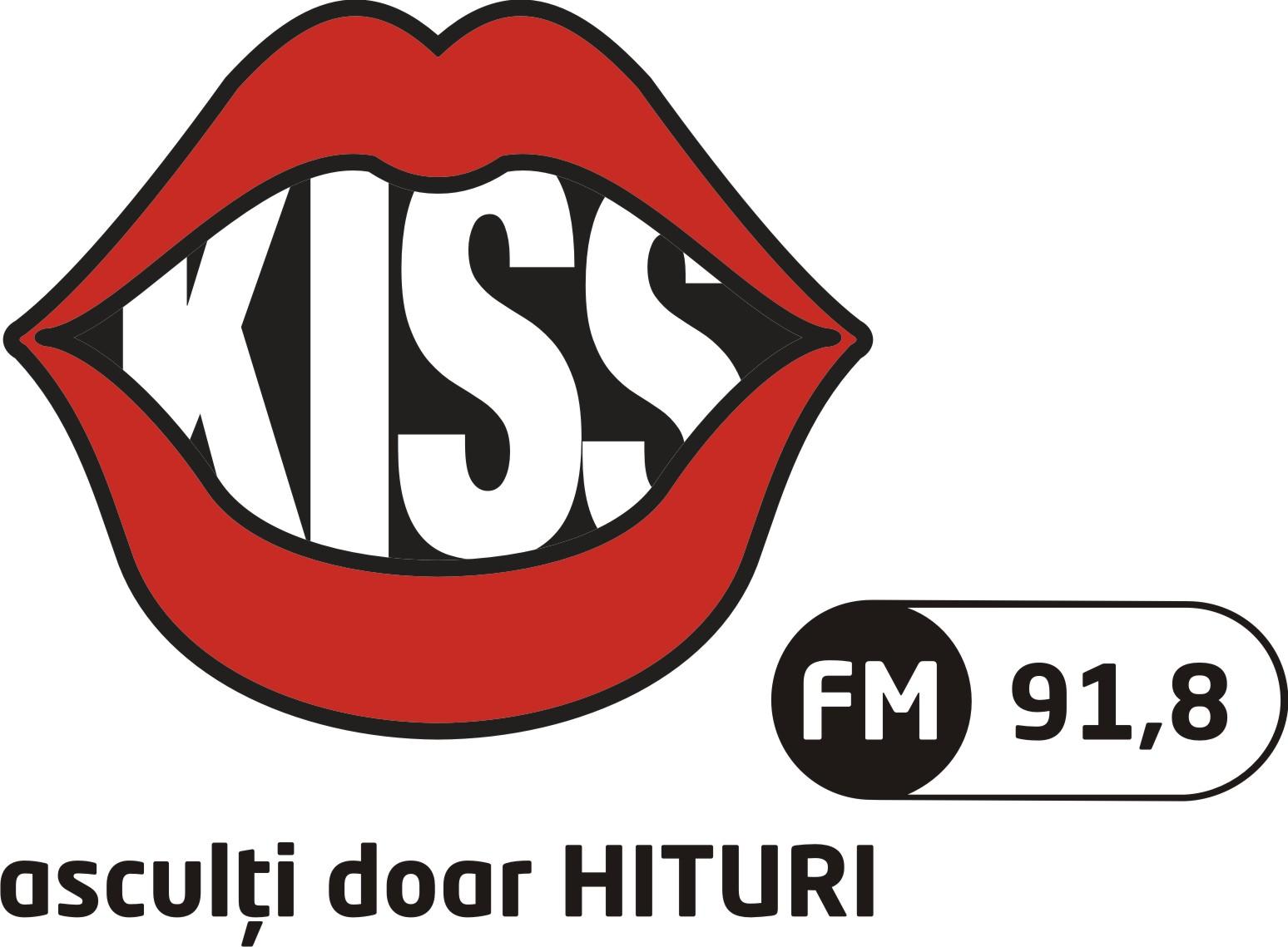 LOGO KISS FM SIBIU FUNDAL ALB